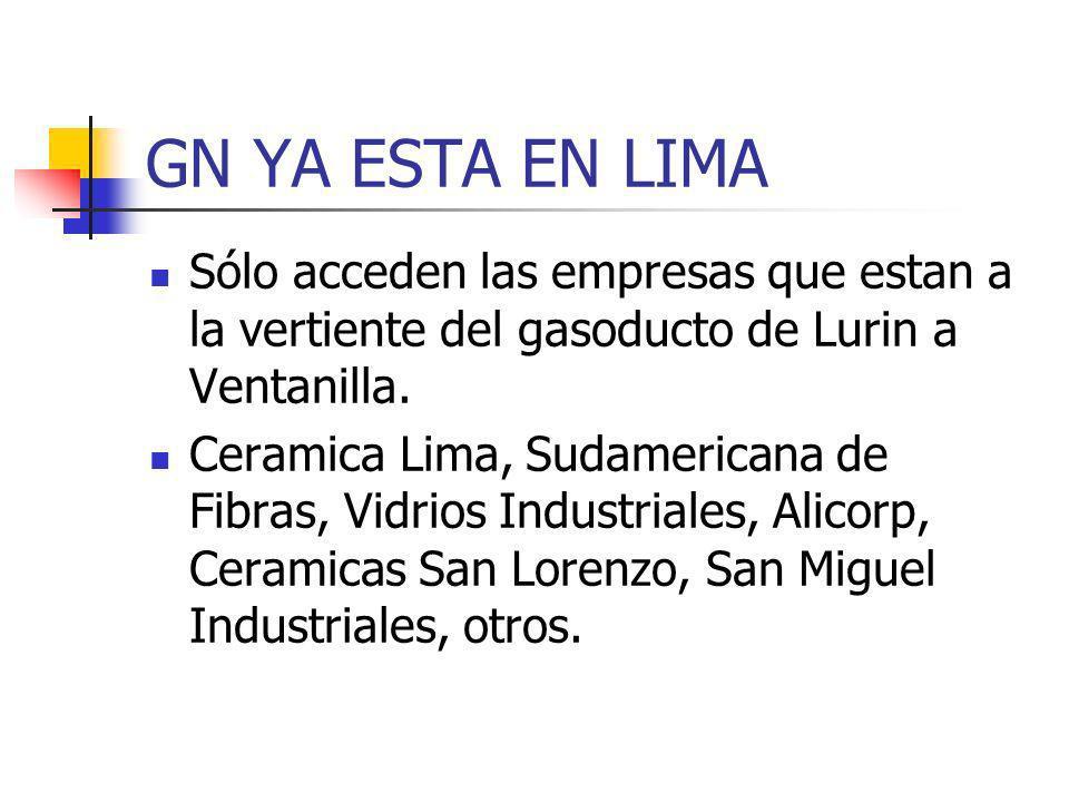 GN YA ESTA EN LIMA Sólo acceden las empresas que estan a la vertiente del gasoducto de Lurin a Ventanilla. Ceramica Lima, Sudamericana de Fibras, Vidr