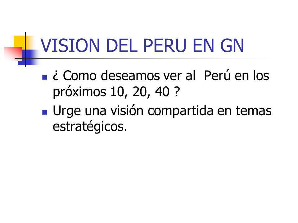 VISION DEL PERU EN GN ¿ Como deseamos ver al Perú en los próximos 10, 20, 40 ? Urge una visión compartida en temas estratégicos.