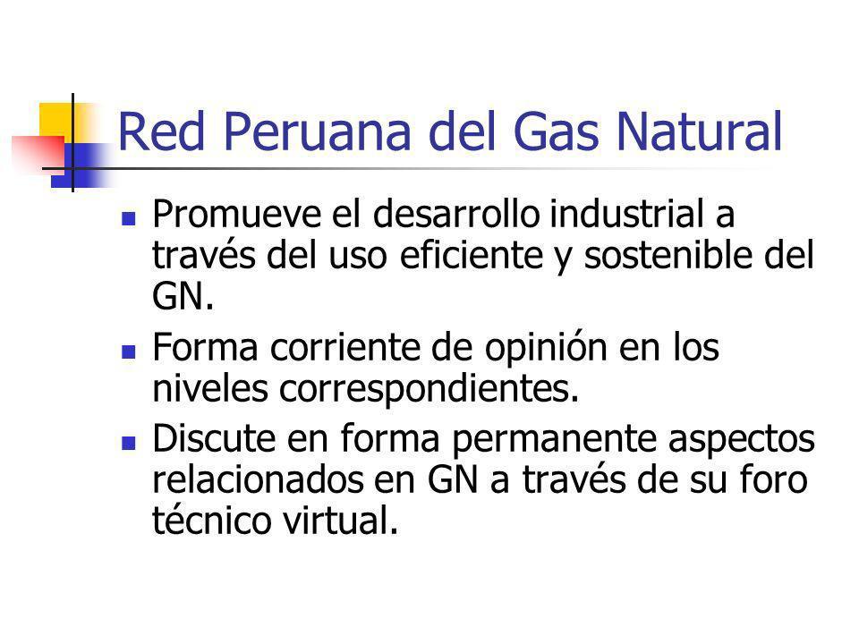 Red Peruana del Gas Natural Promueve el desarrollo industrial a través del uso eficiente y sostenible del GN. Forma corriente de opinión en los nivele