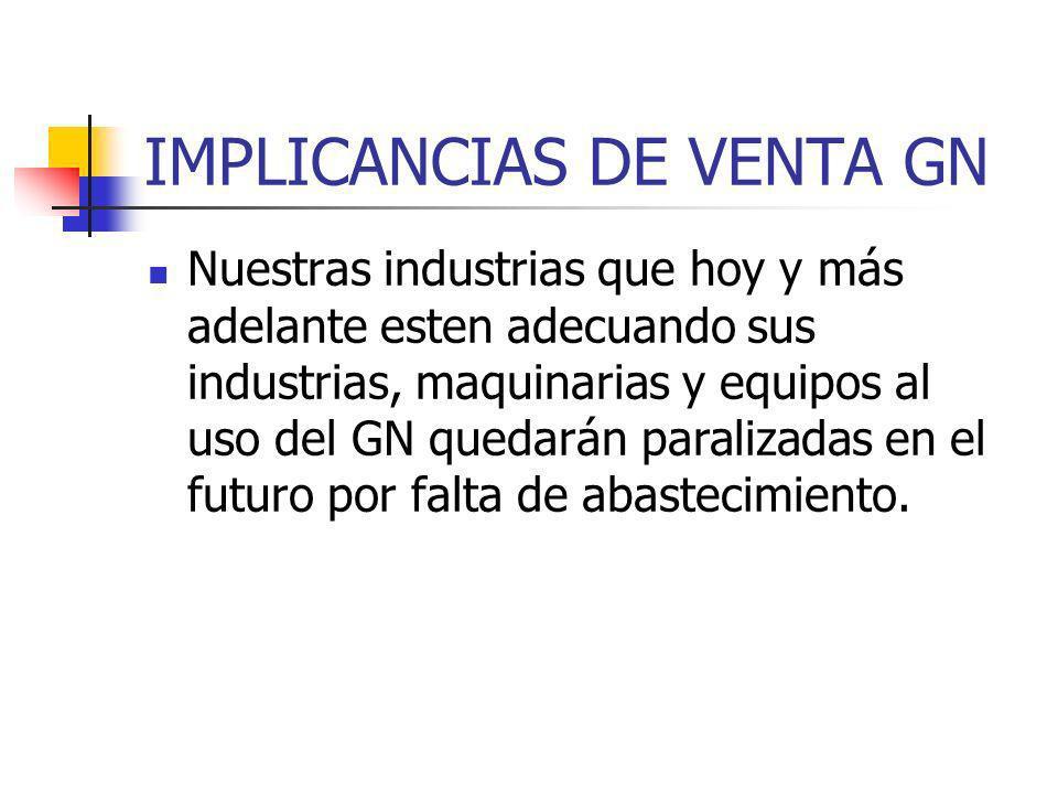 IMPLICANCIAS DE VENTA GN Nuestras industrias que hoy y más adelante esten adecuando sus industrias, maquinarias y equipos al uso del GN quedarán paralizadas en el futuro por falta de abastecimiento.