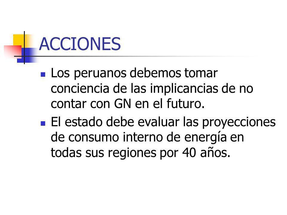 ACCIONES Los peruanos debemos tomar conciencia de las implicancias de no contar con GN en el futuro. El estado debe evaluar las proyecciones de consum