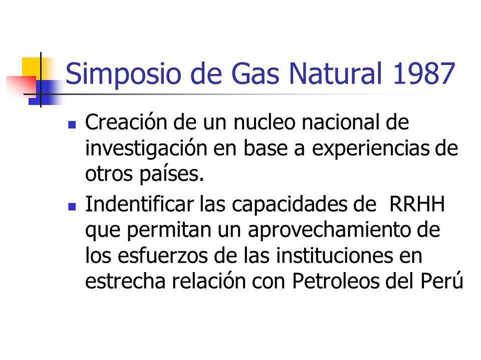 Simposio de Gas Natural 1987 Creación de un nucleo nacional de investigación en base a experiencias de otros países. Indentificar las capacidades de R