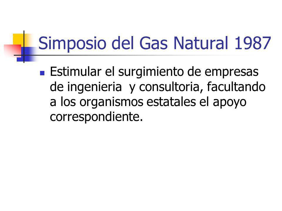 Simposio del Gas Natural 1987 Estimular el surgimiento de empresas de ingenieria y consultoria, facultando a los organismos estatales el apoyo correspondiente.