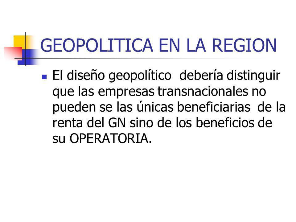 GEOPOLITICA EN LA REGION El diseño geopolítico debería distinguir que las empresas transnacionales no pueden se las únicas beneficiarias de la renta del GN sino de los beneficios de su OPERATORIA.