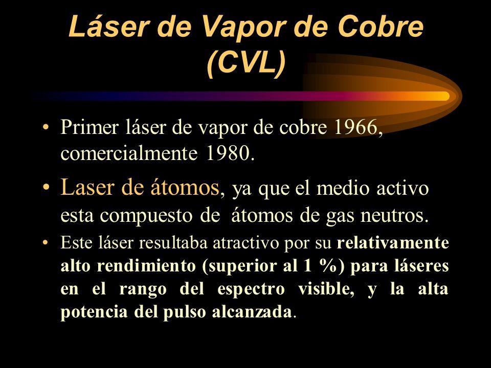 Láser de Vapor de Cobre (CVL) Primer láser de vapor de cobre 1966, comercialmente 1980. Laser de átomos, ya que el medio activo esta compuesto de átom