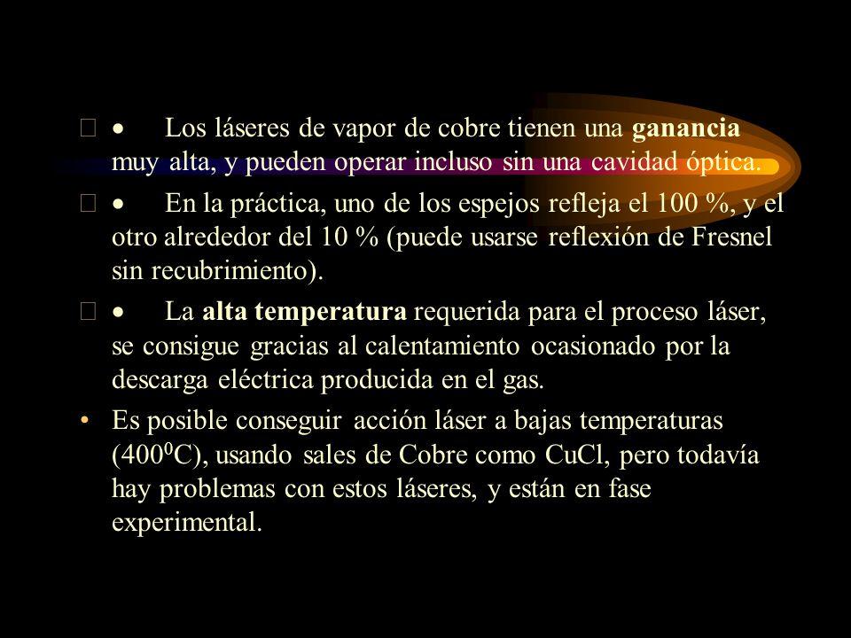 Los láseres de vapor de cobre tienen una ganancia muy alta, y pueden operar incluso sin una cavidad óptica. En la práctica, uno de los espejos refleja