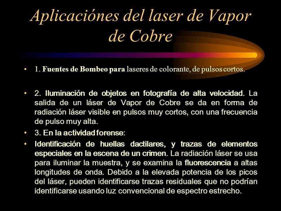 Aplicaciónes del laser de Vapor de Cobre 1. Fuentes de Bombeo para laseres de colorante, de pulsos cortos. 2. Iluminación de objetos en fotografía de