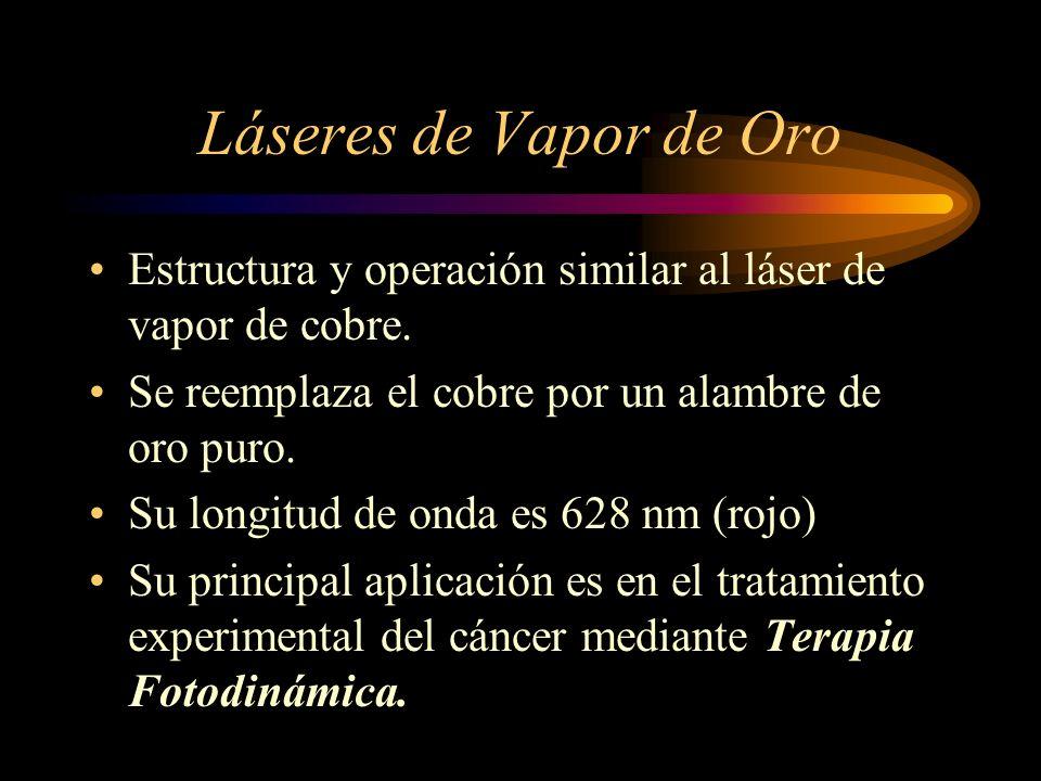 Láseres de Vapor de Oro Estructura y operación similar al láser de vapor de cobre. Se reemplaza el cobre por un alambre de oro puro. Su longitud de on