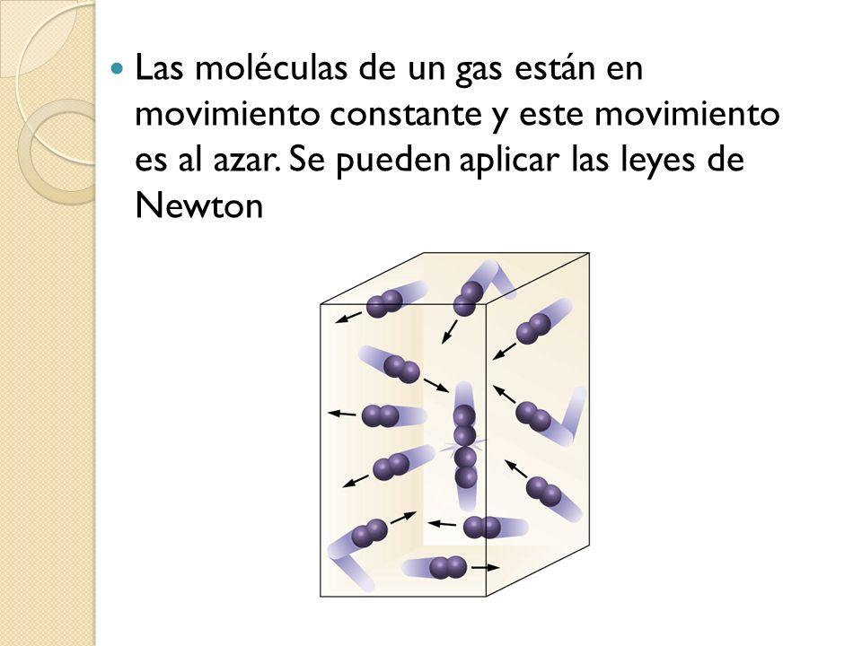 Las moléculas de un gas están en movimiento constante y este movimiento es al azar. Se pueden aplicar las leyes de Newton