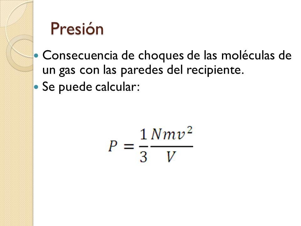 Presión Consecuencia de choques de las moléculas de un gas con las paredes del recipiente. Se puede calcular: