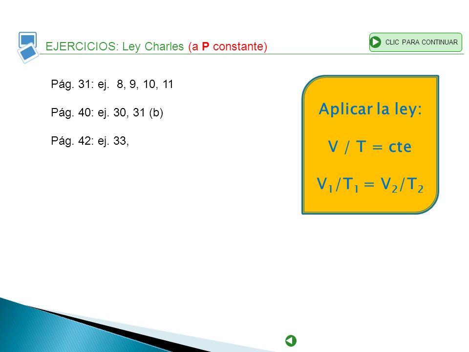 EJERCICIOS: Ley Charles (a P constante) CLIC PARA CONTINUAR Pág. 31: ej. 8, 9, 10, 11 Pág. 40: ej. 30, 31 (b) Pág. 42: ej. 33, Aplicar la ley: V / T =