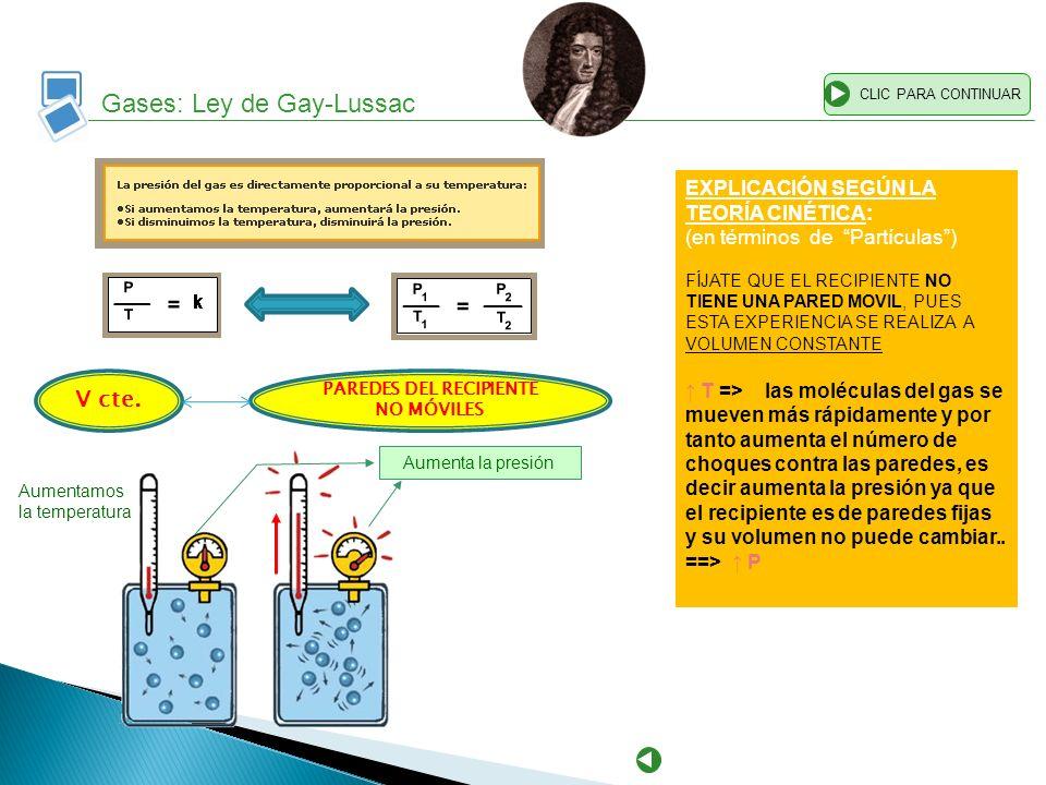 Gases: Ley de Gay-Lussac CLIC PARA CONTINUAR EXPLICACIÓN SEGÚN LA TEORÍA CINÉTICA: (en términos de Partículas) FÍJATE QUE EL RECIPIENTE NO TIENE UNA P