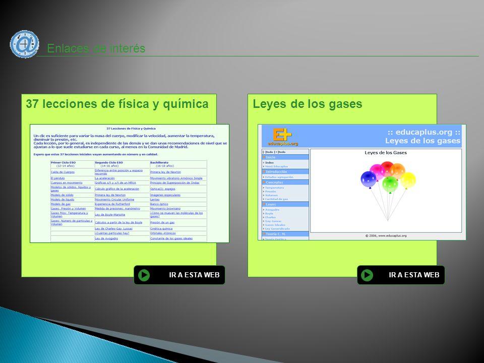 Enlaces de interés Leyes de los gases IR A ESTA WEB 37 lecciones de física y química IR A ESTA WEB