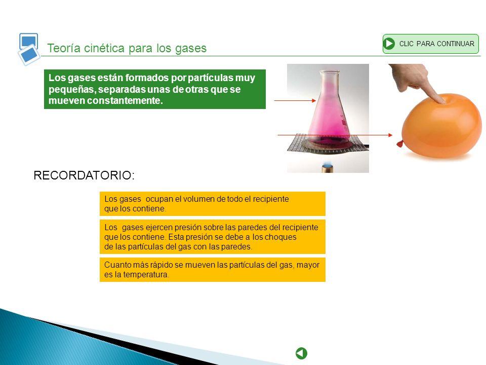 Teoría cinética para los gases CLIC PARA CONTINUAR Los gases están formados por partículas muy pequeñas, separadas unas de otras que se mueven constan