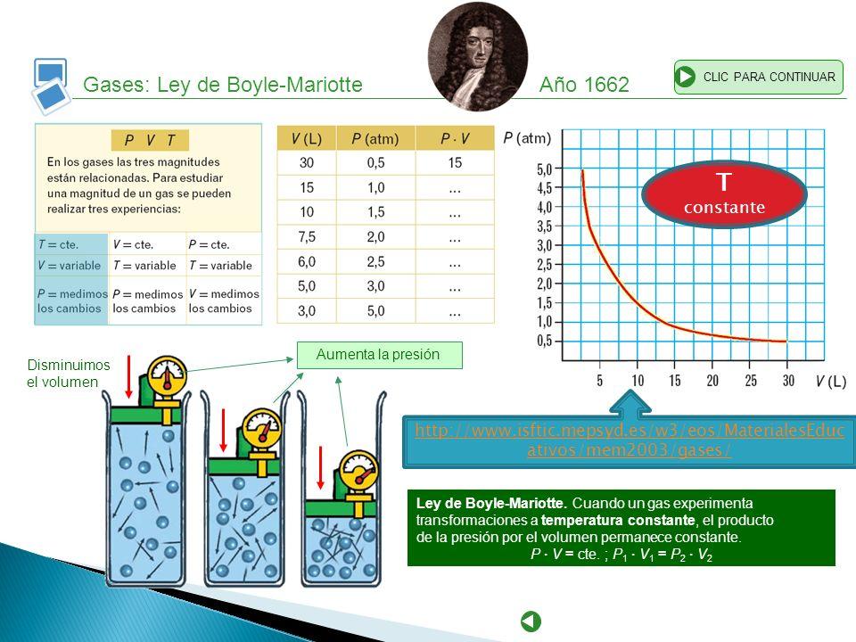Gases: Ley de Boyle-Mariotte Año 1662 CLIC PARA CONTINUAR Ley de Boyle-Mariotte. Cuando un gas experimenta transformaciones a temperatura constante, e
