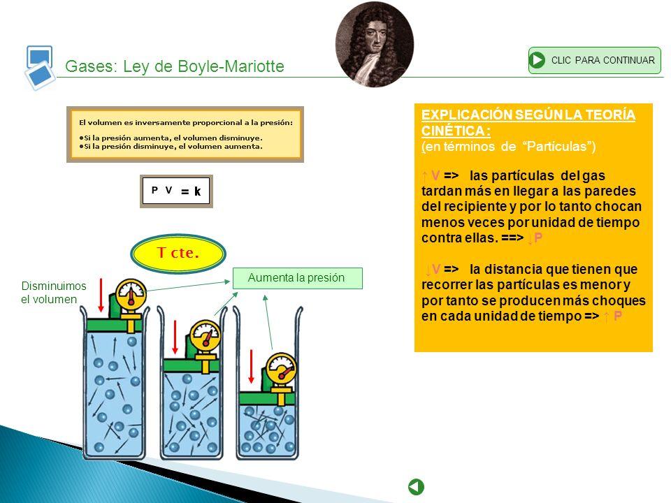 Gases: Ley de Boyle-Mariotte CLIC PARA CONTINUAR EXPLICACIÓN SEGÚN LA TEORÍA CINÉTICA : (en términos de Partículas) V => las partículas del gas tardan