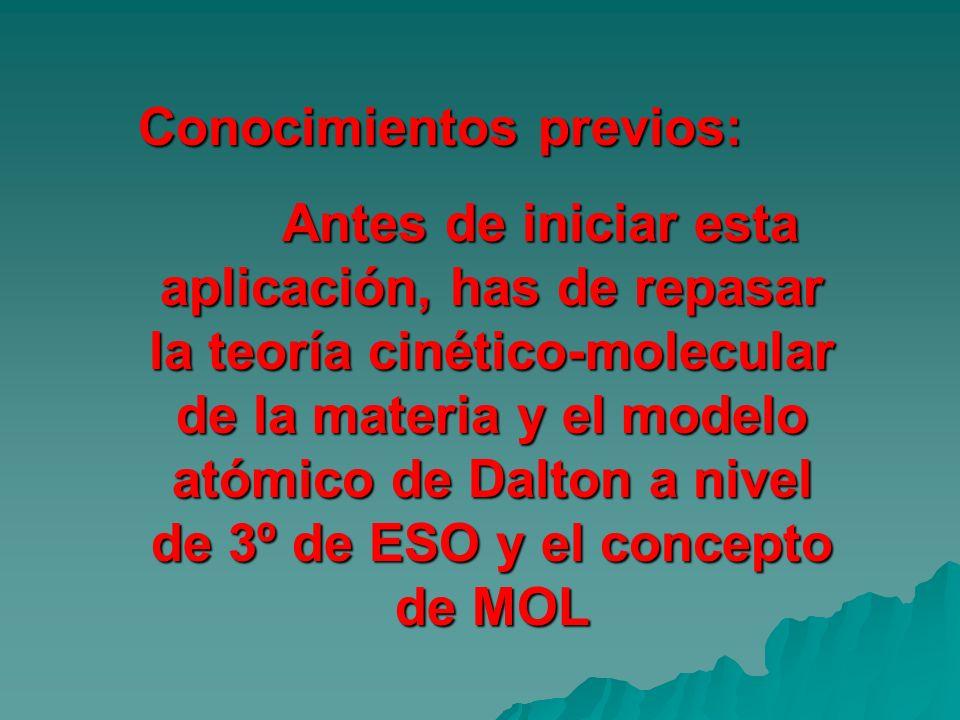 Conocimientos previos: Antes de iniciar esta aplicación, has de repasar la teoría cinético-molecular de la materia y el modelo atómico de Dalton a niv