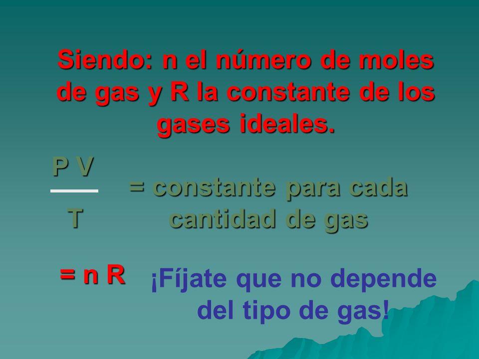 Siendo: n el número de moles de gas y R la constante de los gases ideales. P V T = constante para cada cantidad de gas = n R ¡Fíjate que no depende de
