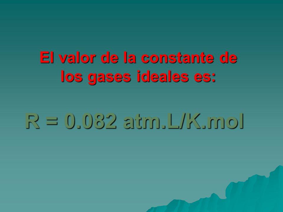 El valor de la constante de los gases ideales es: R = 0.082 atm.L/K.mol