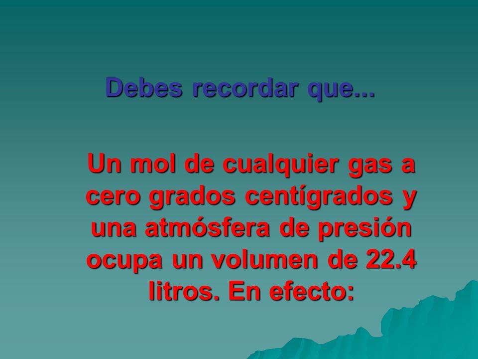 Un mol de cualquier gas a cero grados centígrados y una atmósfera de presión ocupa un volumen de 22.4 litros. En efecto: Debes recordar que...