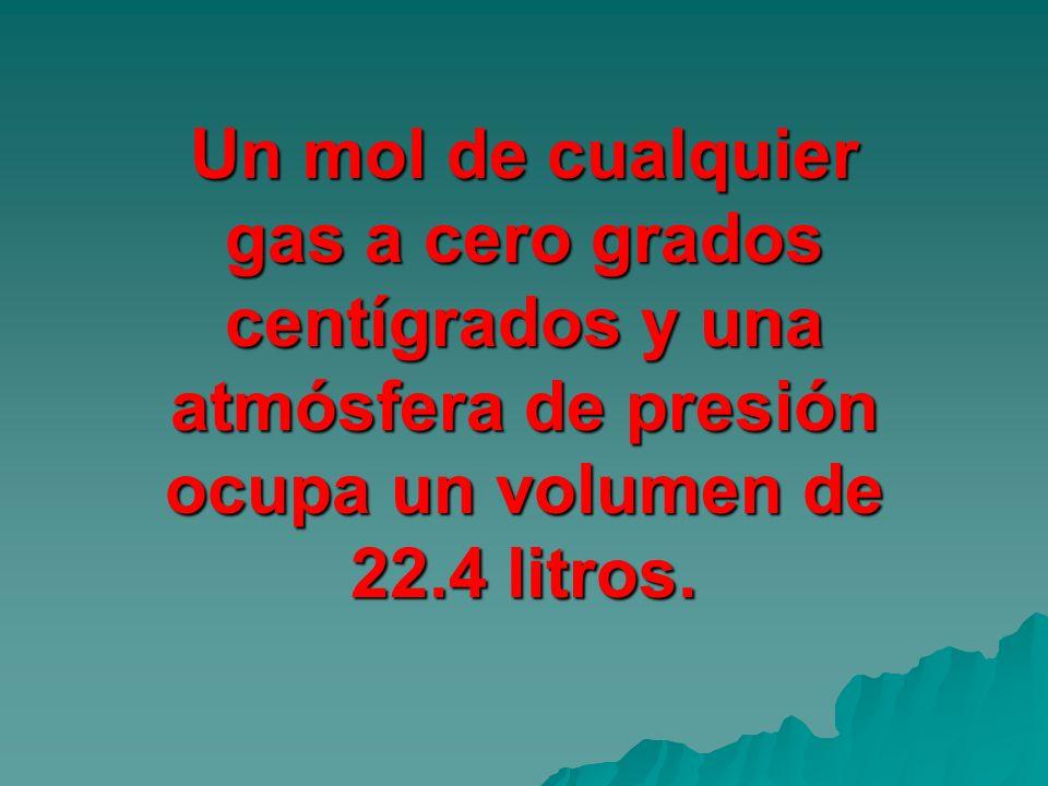 Un mol de cualquier gas a cero grados centígrados y una atmósfera de presión ocupa un volumen de 22.4 litros.