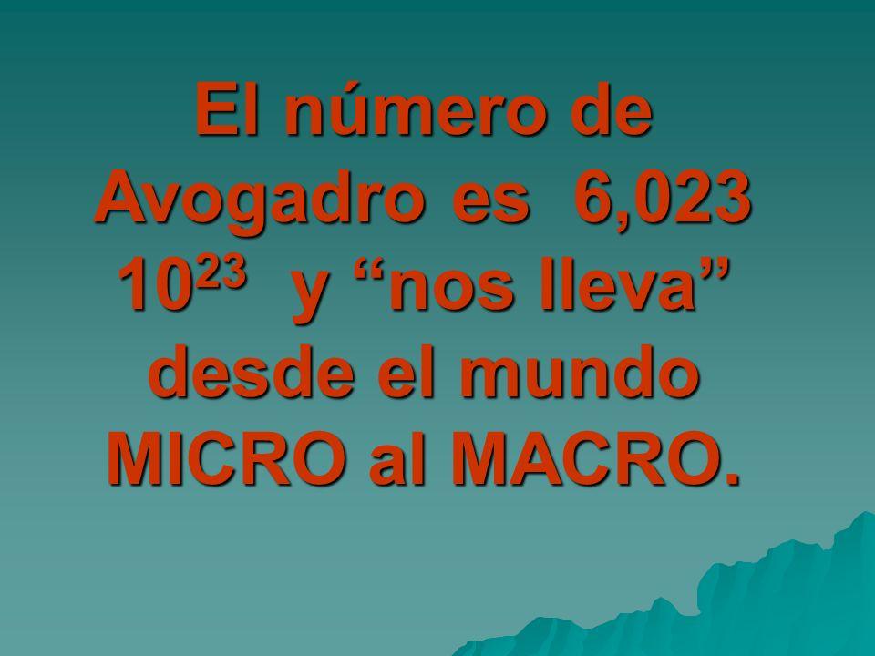 El número de Avogadro es 6,023 10 23 y nos lleva desde el mundo MICRO al MACRO.