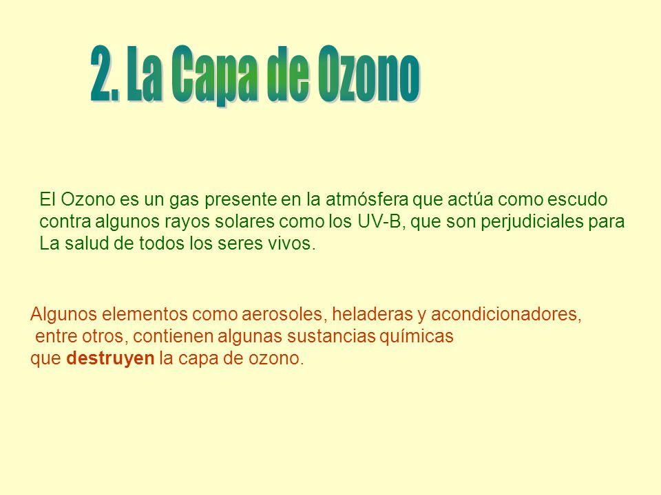 El Ozono es un gas presente en la atmósfera que actúa como escudo contra algunos rayos solares como los UV-B, que son perjudiciales para La salud de t
