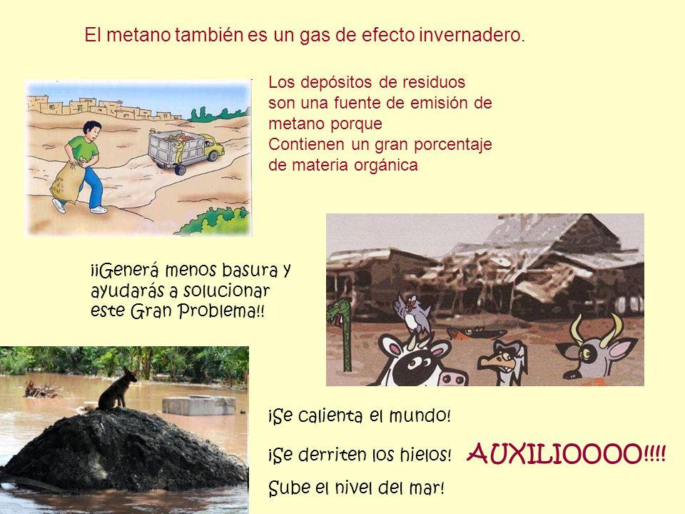 El metano también es un gas de efecto invernadero. Los depósitos de residuos son una fuente de emisión de metano porque Contienen un gran porcentaje d