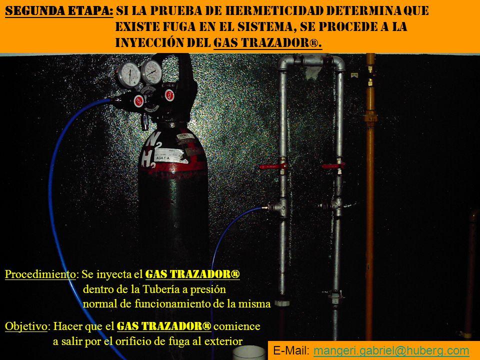Objetivo: Hacer que el GAS TRAZADOR® comience a salir por el orificio de fuga al exterior Procedimiento: Se inyecta el GAS TRAZADOR® dentro de la Tube