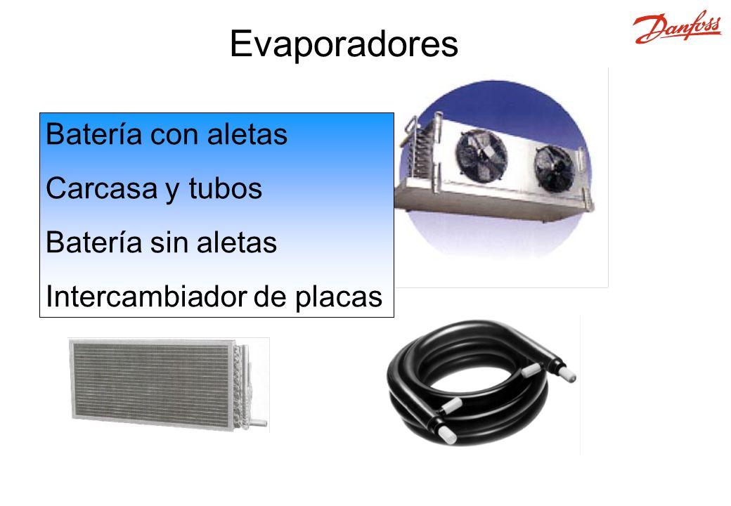 Batería con aletas Carcasa y tubos Batería sin aletas Intercambiador de placas Evaporadores