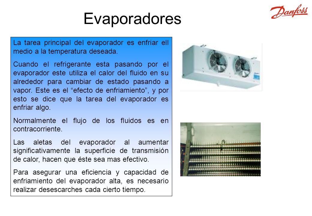 La tarea principal del evaporador es enfriar ell medio a la temperatura deseada.