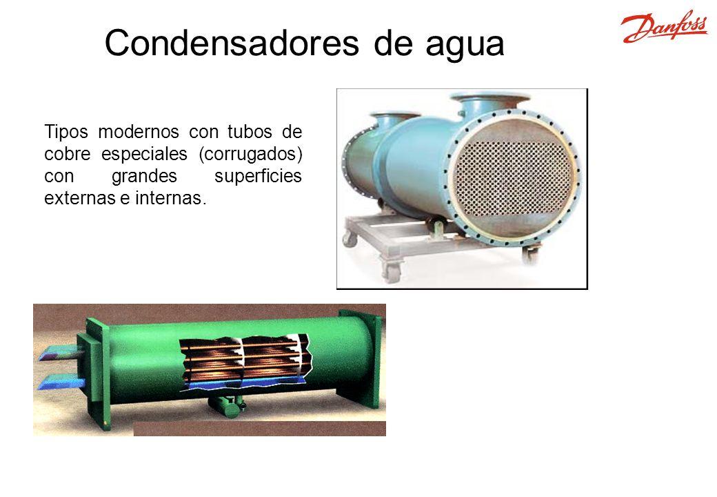 Tipos modernos con tubos de cobre especiales (corrugados) con grandes superficies externas e internas. Condensadores de agua