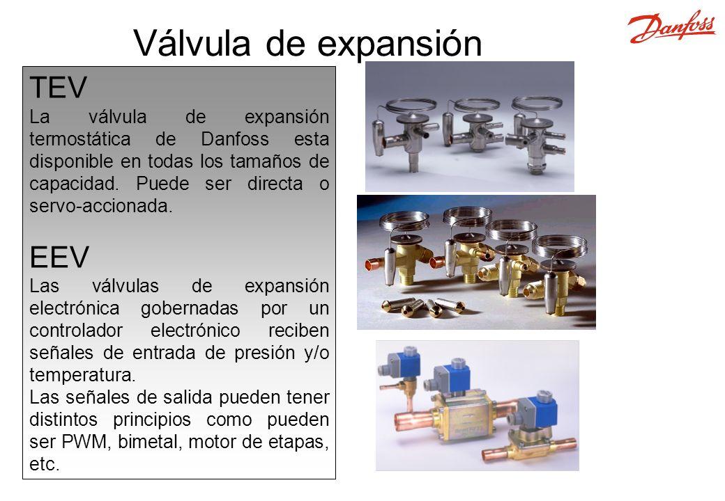 TEV La válvula de expansión termostática de Danfoss esta disponible en todas los tamaños de capacidad.