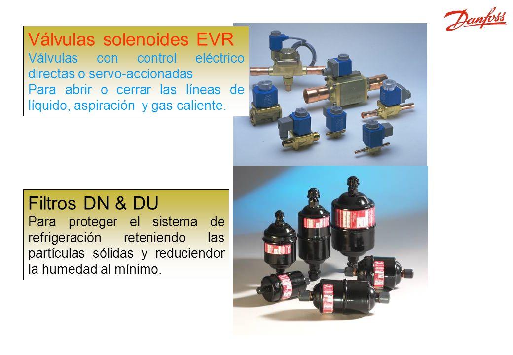 EVR, DML y DCL Válvulas solenoides EVR Válvulas con control eléctrico directas o servo-accionadas Para abrir o cerrar las líneas de líquido, aspiración y gas caliente.