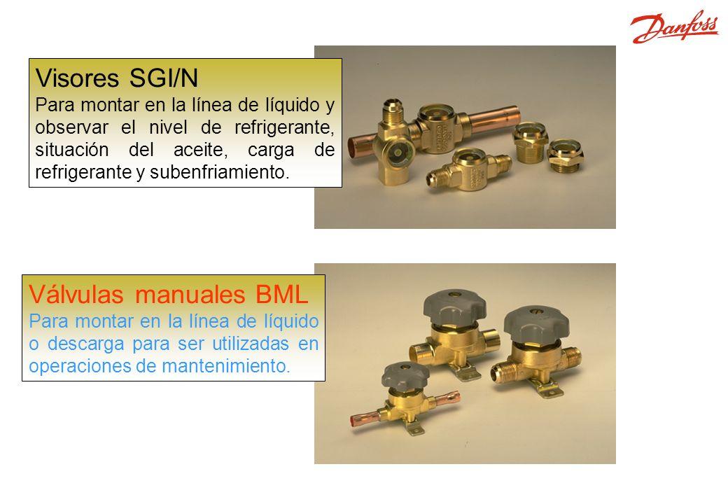 SGI, SGN, BML Visores SGI/N Para montar en la línea de líquido y observar el nivel de refrigerante, situación del aceite, carga de refrigerante y subenfriamiento.