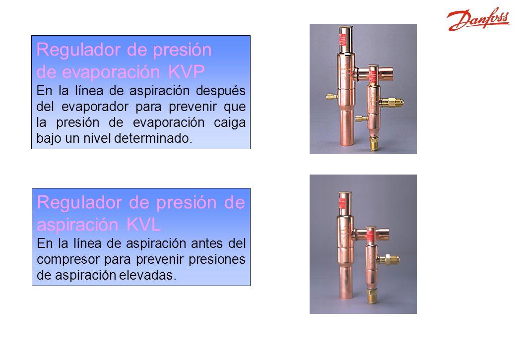 KVP, KVL Regulador de presión de evaporación KVP En la línea de aspiración después del evaporador para prevenir que la presión de evaporación caiga bajo un nivel determinado.