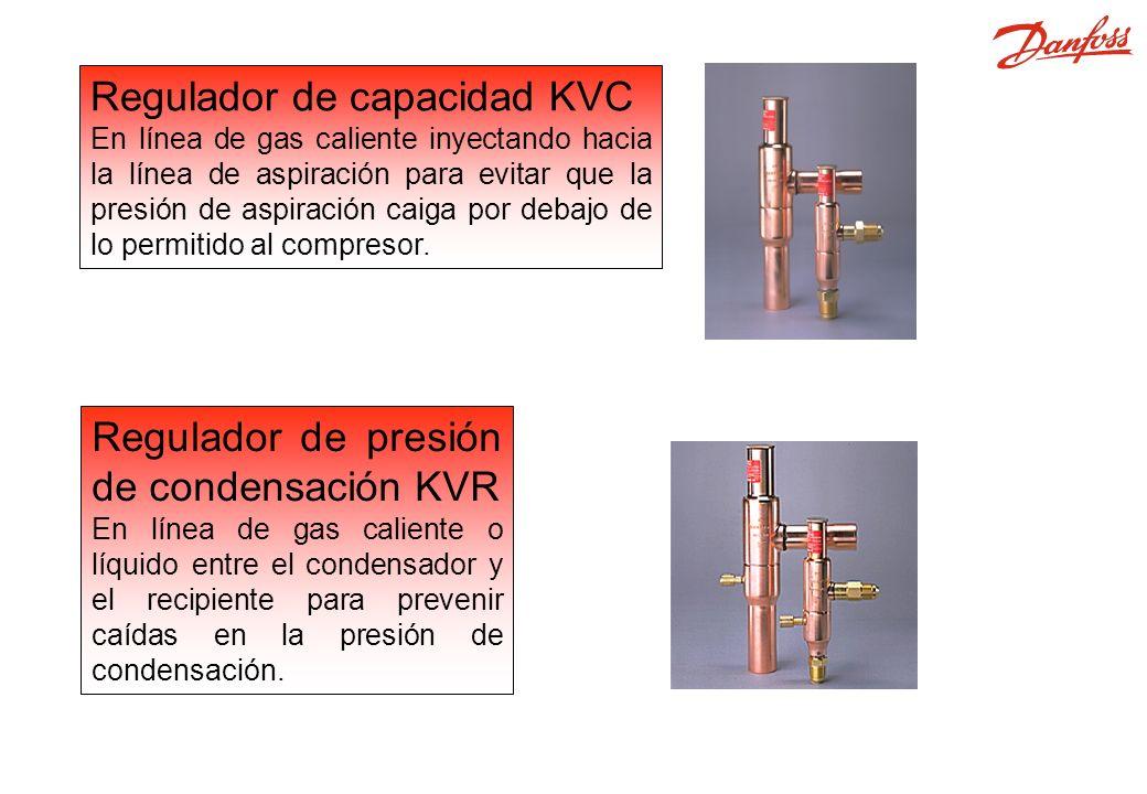 Regulador de capacidad KVC En línea de gas caliente inyectando hacia la línea de aspiración para evitar que la presión de aspiración caiga por debajo de lo permitido al compresor.