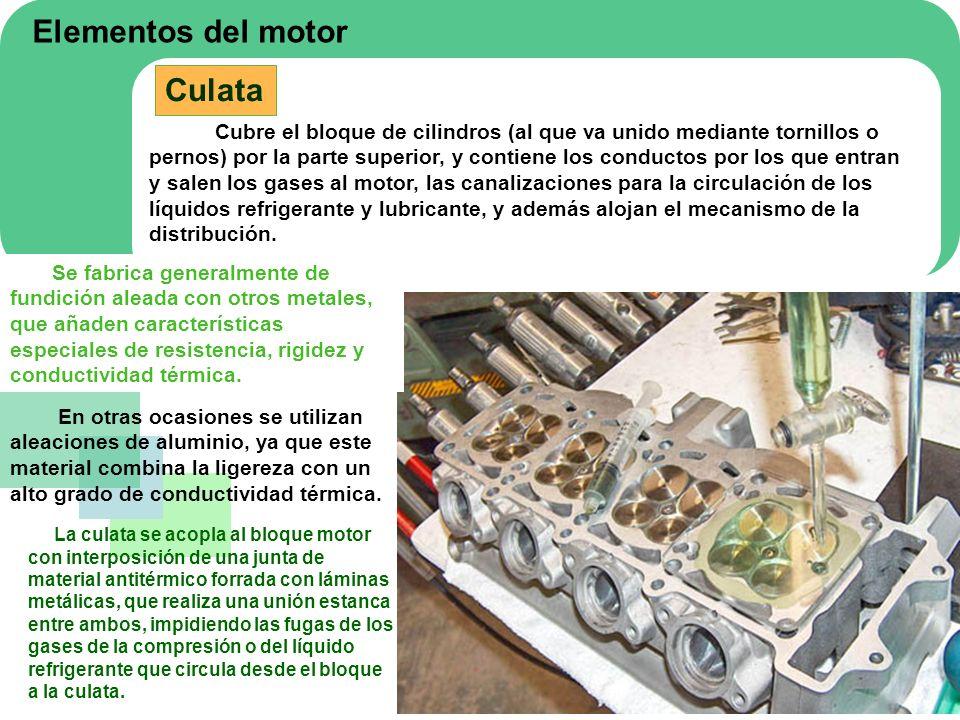 Elementos del motor Culata Cubre el bloque de cilindros (al que va unido mediante tornillos o pernos) por la parte superior, y contiene los conductos