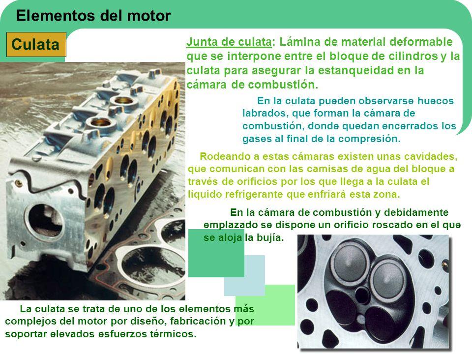 Elementos del motor Culata La culata se trata de uno de los elementos más complejos del motor por diseño, fabricación y por soportar elevados esfuerzo