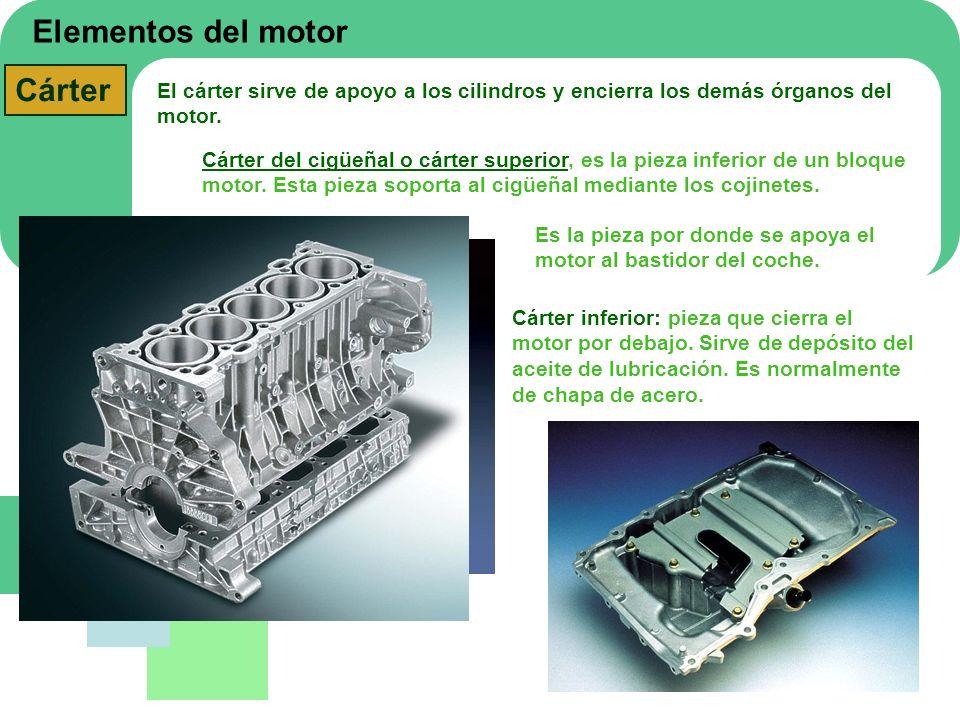 Elementos del motor Cárter El cárter sirve de apoyo a los cilindros y encierra los demás órganos del motor. Cárter del cigüeñal o cárter superior, es