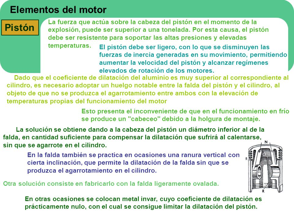 Elementos del motor Pistón La fuerza que actúa sobre la cabeza del pistón en el momento de la explosión, puede ser superior a una tonelada. Por esta c