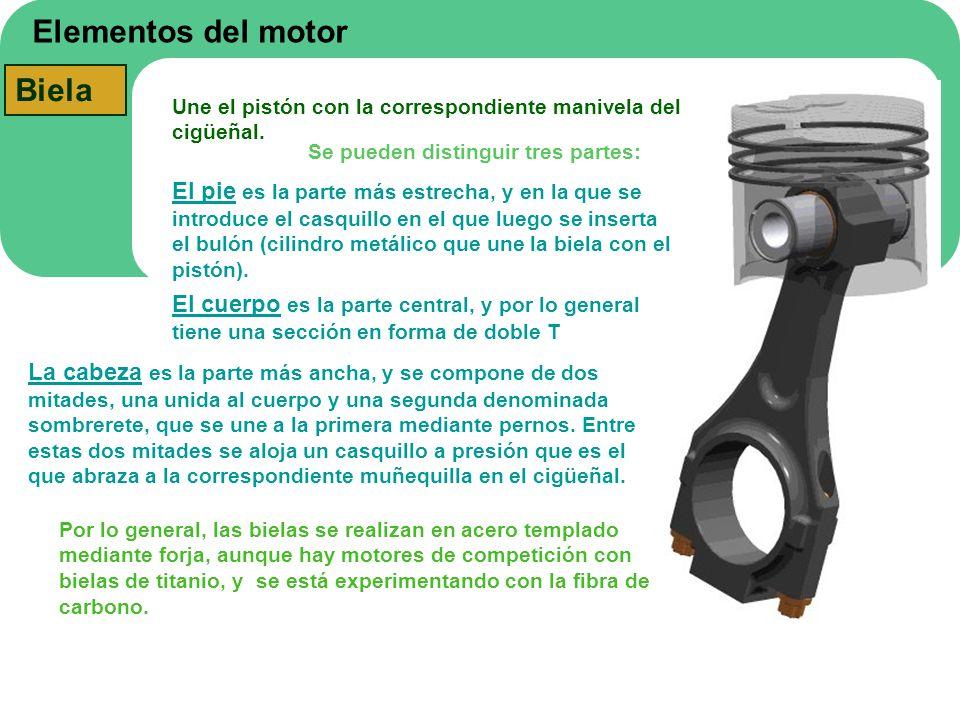 Elementos del motor Biela Une el pistón con la correspondiente manivela del cigüeñal. Se pueden distinguir tres partes: El pie es la parte más estrech
