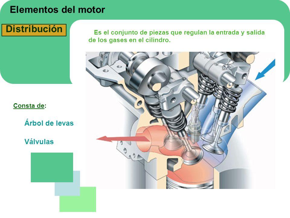 Elementos del motor Distribución Es el conjunto de piezas que regulan la entrada y salida de los gases en el cilindro. Consta de: Árbol de levas Válvu