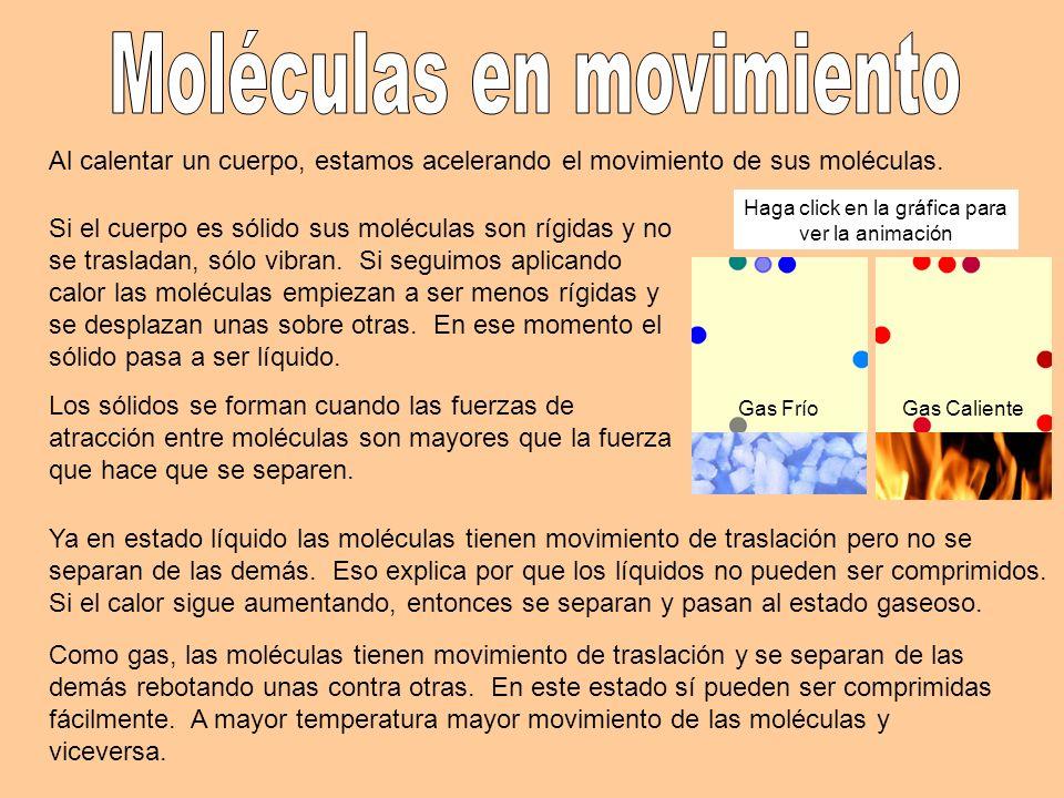 Al calentar un cuerpo, estamos acelerando el movimiento de sus moléculas. Si el cuerpo es sólido sus moléculas son rígidas y no se trasladan, sólo vib