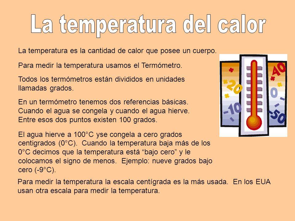 La temperatura es la cantidad de calor que posee un cuerpo. Para medir la temperatura usamos el Termómetro. Todos los termómetros están divididos en u