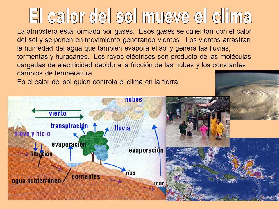 La atmósfera está formada por gases. Esos gases se calientan con el calor del sol y se ponen en movimiento generando vientos. Los vientos arrastran la
