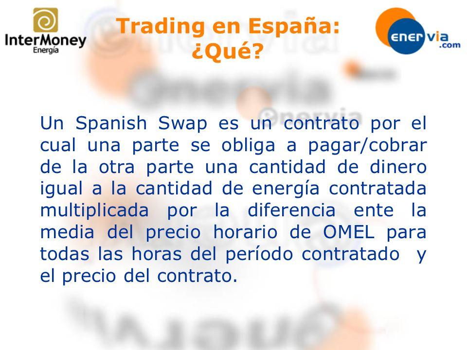 Un Spanish Swap es un contrato por el cual una parte se obliga a pagar/cobrar de la otra parte una cantidad de dinero igual a la cantidad de energía c