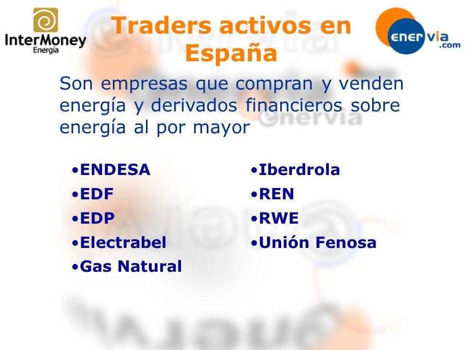 Traders activos en España Son empresas que compran y venden energía y derivados financieros sobre energía al por mayor ENDESA EDF EDP Electrabel Gas N