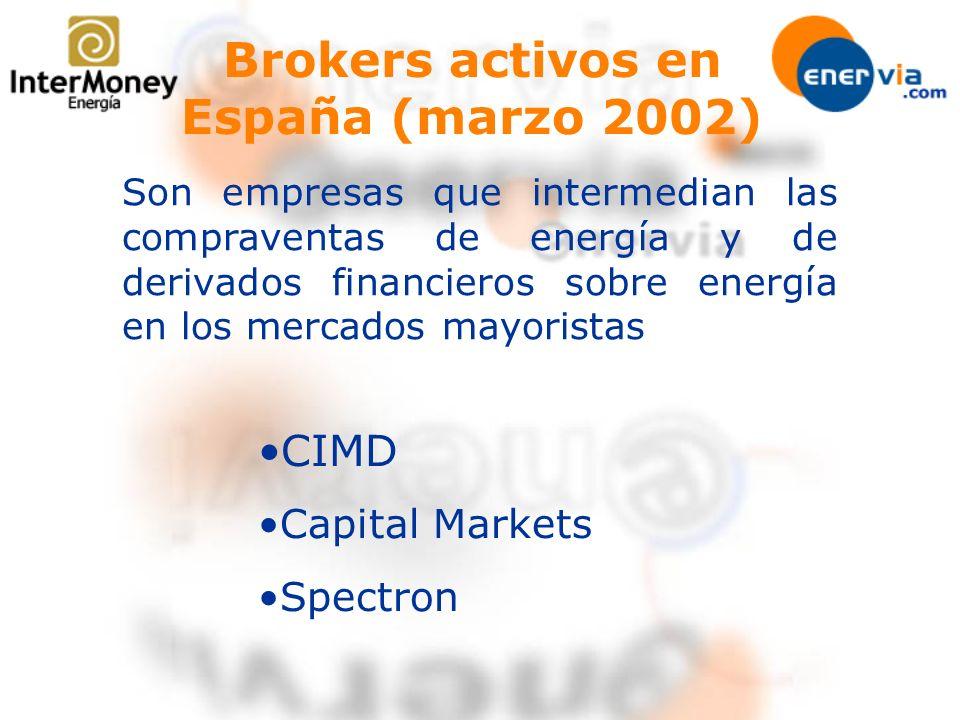 Brokers activos en España (marzo 2002) CIMD Capital Markets Spectron Son empresas que intermedian las compraventas de energía y de derivados financier