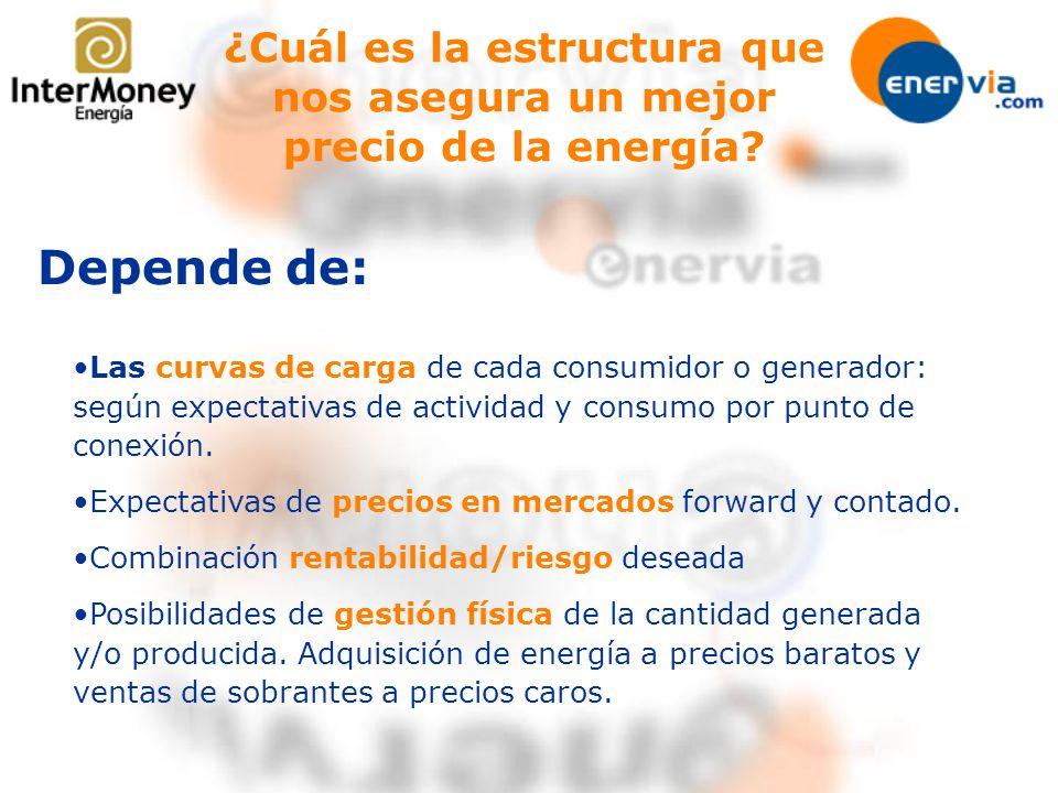 ¿Cuál es la estructura que nos asegura un mejor precio de la energía? Las curvas de carga de cada consumidor o generador: según expectativas de activi